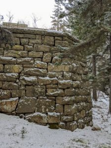 Behind this stone wall is Aristide Maillol's 'La Riviere,' but don't worry - she is safe and all tucked away in a shelter for the remainder of winter.