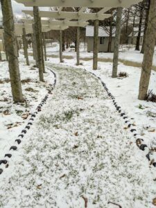 This photo was taken on the path under my pergola. The black granite bricks were placed here last spring by my outdoor grounds crew foreman, Chhiring. He put down each brick one-by-one in what is called a sawtooth pattern - hard to see even with the light snow cover.