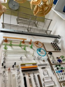 Here is an assortment of contemporary Lucite cabinet and bathroom hardware.