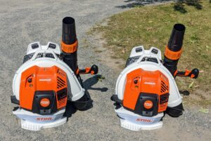 Our blowers are made by STIHL too. We've been using STIHL's backpack blowers for years here at my farm. These blowers are powerful and fuel-efficient. The gasoline-powered engines provide enough rugged power to tackle heavy debris while delivering much lower emissions.