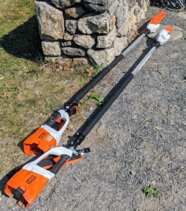 For pruning, we use these telescoping pole pruners from STIHL. It has a quiet, zero-exhaust emission, and is very lightweight. Plus, with an adjustable shaft, the telescoping pole pruner can cut branches up to 16 feet above the ground.
