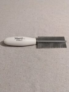I also have this 2-in-1 detangle comb. The dual sided comb is so light and easy to use, and gets out tangles and dander, and makes grooming quick. It's great for cats and dogs.