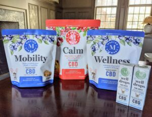 I am so excited to launch the Martha Stewart CBD for Pet line. Right now, we have three varieties - Calm in chicken and cranberry, Mobility in chicken and blueberry, and Wellness in chicken, as well as blueberry and anise. The wellness oil drops are available in a chicken flavor.