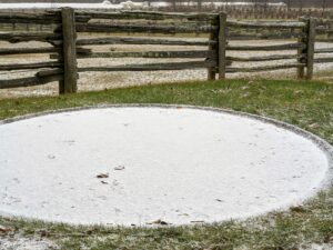 The giant bird bath behind my donkey paddock is frozen with a layer of white snow on top.