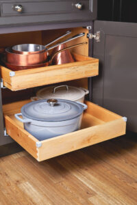 Every kitchen should have these sliding space-savers. These pull-out storage solutions are available at home improvement centers. They are great for accessing items in the back of cabinets. And, they can be found in a range of sizes and materials.