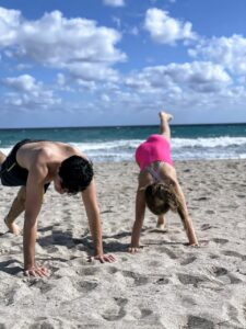 Here is Jude trying to teach Ari how to do a front walkover flip.