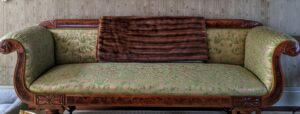 Here is the sofa I had reupholstered in a lovely Fortuny fabric - also done by Interiors Haberdashery.