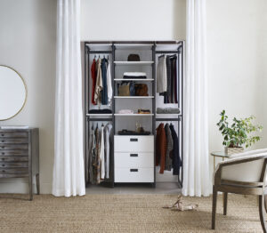 These components feature a modern palette of wood and metal finishes that can fit in every home.