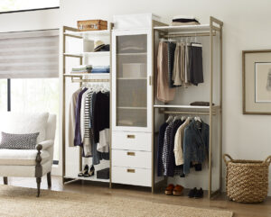 Here is a smaller configuration. The Everyday System with California Closets is practical and well-designed and can be adjusted to fit all your organizing needs.