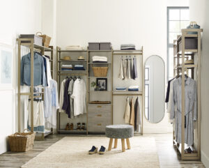 This Everyday System can be used in a reach-in closet configuration or act as a stand-alone storage unit like this. The refined design is configured with more than 87-inches of combined hanging and overhead storage space.