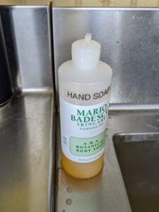 Next to every sink, there is ample hand soap for all to use. It is important to wash with soap and water for at least 30 seconds.