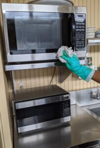 The microwave is also used by every member of the crew, so it is important it stays very clean.