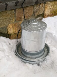 I also feel it is important to make sure all the wild birds have access to fresh water. I use one of these double wall metal chicken waterers on top of a heater to prevent freezing. Made of galvanized steel, these waterers are clean, durable and can hold a couple gallons of water.