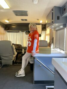 While in California, I also hosted the annual Puppy Bowl. Here I am in my trailer.
