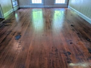 Then the floors were polished with a rotary floor buffer. This floor is now ready for the new carpet.