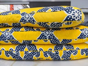 Here are the matching cushions - also dropped off for re-covering.