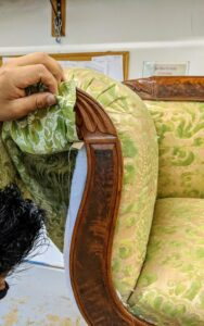 This process takes time, especially if there is a distinct pattern to the fabric.