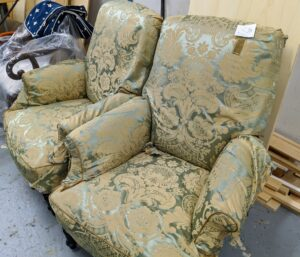 These armchairs were re-covered also...