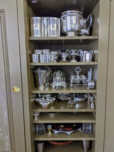 In my Winter House, I have several cabinets specifically designated for storing silver. Whenever there is time, my housekeepers like to clean and polish small batches, so there is never a rush to do it before a party. Right now, we are not sure when we will be able to gather in large groups, but it is always nice to know I'll be ready.