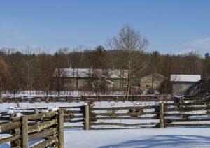 This view shows my giant Equipment Barn topped with three antique finials I purchased years ago. My Hay Barn and old corn crib can also be seen in this photo.
