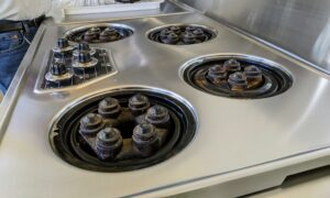 These burners were also wiped down several times each to remove any leftover dried foods.