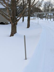 Right now, the farm is under more than a foot of snow - with more expected over the next few days. Thankfully, we are always well-prepared. These road stakes are placed along the carriage roads to outline the edges, so cars and plows know exactly where to go.