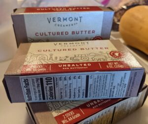 I also use Vermont Creamery Butter. It is a cultured butter - the cream has been aged with cultures for about a day. Cultured butter has a distinct, tangy flavor with all of the creaminess of rich European butter. Vermont Creamery lets their high-fat cream age for 20 hours. The longer the cream ages, the more pronounced the tangy flavor will be.