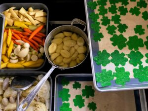 Everything is ready. Dinner was scheduled for 7pm in my Brown Room. Tomorrow, I will share all the wonderful finished dishes we enjoyed. Be sure to check back! How did you celebrate St. Patrick's Day? Share your stories in the section below.
