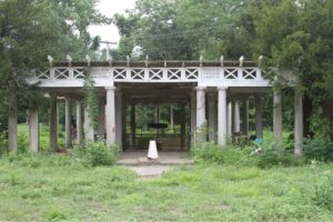 """This is the entrance to the """"Peristyle"""" before it was restored to its original beauty. In Hellenistic Greek and Roman architecture, a peristyle is a continuous porch formed by a row of columns surrounding the perimeter of a building or a courtyard. (Photo provided by Jon Carloftis Fine Gardens)"""