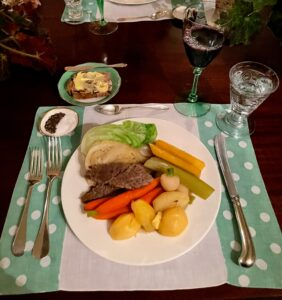 Here is a full plate at the dinner table. In Ireland, beef was a meat reserved only for the wealthy. The Great Famine resulting from potato blight caused a mass migration of the Irish to the new world. In America, corned beef was readily available to Irish immigrants and became a favored comfort food.