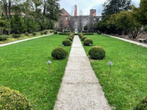 "This is the ""Sunken Garden."" The pathways and fountain are original to the late 1800s."