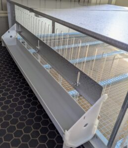 There are three 28-inch troughs which may be used for either feed or water. The sides also have vented, transparent panels that make it easy to view the chicks from all angles.