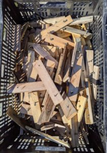 The strips are collected in one crate and stored for next year.