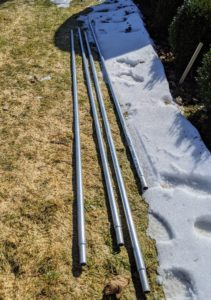 These pipes are made from rolled galvanized 16 gauge industrial tubing. If cared for properly, these pieces will last a good, long time.
