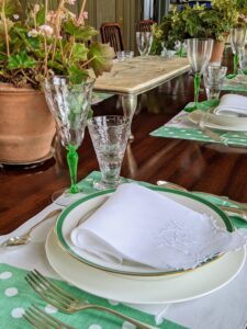 This evening, I will serve dinner at the long table in my Brown Room. Enma set a lovely table for the event. We will feast on corned beef that I prepared last week. I will share more photos of this dinner in my next blog. Be sure to check in tomorrow.