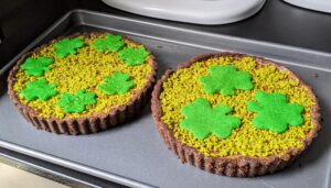 And remember all those tuile shamrock wafers? We used them to top our Milk Chocolate Pistachio Tarts - just perfect for the occasion.