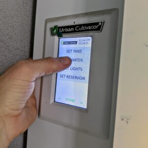 The liquid crystal touch screen enables one to control the functions and monitor watering, lighting, temperature, relative humidity, and nutrient data.