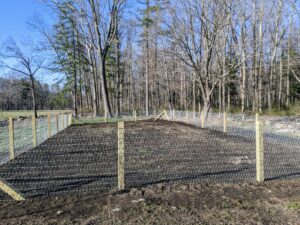 Here's another view of the completed fence - it's important that it be level all the way around.