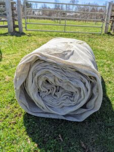 Here is one roll of fabric. It may not look it, but this roll is quite heavy.