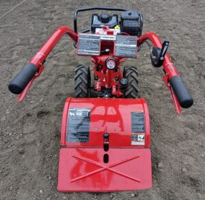 And this is our Troy-Bilt Pony Rear-Tine Tiller. We rototill the vegetable garden every year – regular tilling over time can improve soil structure.