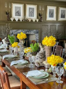 The table was also decorated with seasonal plants and flowers, a variety of colorful eggs, and lots of Easter bunnies.