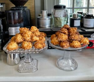 I also made coconut macaroons. The recipe is from my web site at MarthaStewart.com.