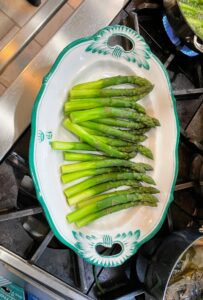 I have these giant asparagus delivered to me every year from Mister Spear in California. They are always so delicious. I like to peel the bottoms of the asparagus stalks before blanching.