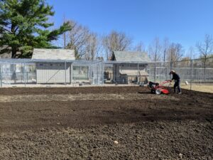 The vegetable gardens are quite large, so it takes time to rototill the entire space, but it's well worth the effort. One complete pass over this garden takes a couple of hours.