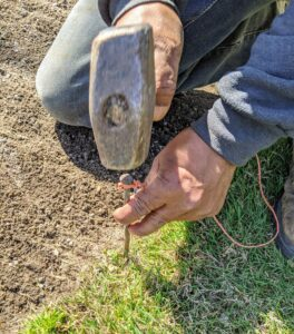 Pete hammers in a nail to anchor the twine at one end. A stake or a garden sod staple can also be used.