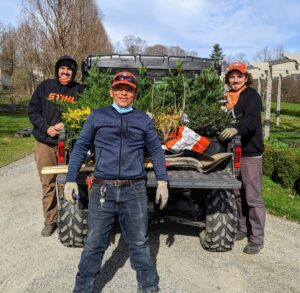 The day was just perfect for some spring planting. Here are Brian, Ryan and Phurba heading out in our trusted Polaris ATV Ranger. These vehicles are so handy around the farm, and they have lots of room for all the plants and needed supplies. I always instruct the crew to take everything they may need to complete a project, so there's no scrambling for items later.