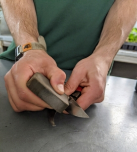 Brian goes over every part of both blades. One can also use a medium grit sandpaper.