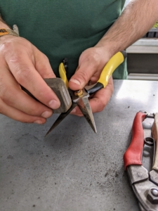 Brian does the same with these snips. Snips have pointed blades, and are essential for precise pruning and trimming of houseplants and outdoor garden plants. They're ideal for removing spent leaves, trimming soft stems, and harvesting flowers and various fruits. As I always say, use the right tool for the right job.