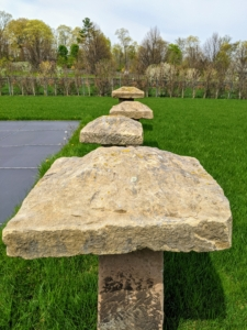 I bought these staddle stones in 2017 from the annual NYBG Garden Furniture & Antiques Fair. Staddle stones were originally used in the 17th and 18th centuries as support bases for granaries, hayricks, and game larders. They typically looked like giant stone mushrooms, but mine are square – a more rare and unique version.