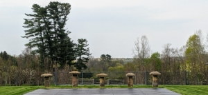 Here is the view from within the fenced pool area. I wanted to be able to see the gorgeous landscape while sitting poolside. At the head of the pool are these five stone structures, which are called staddle stones.